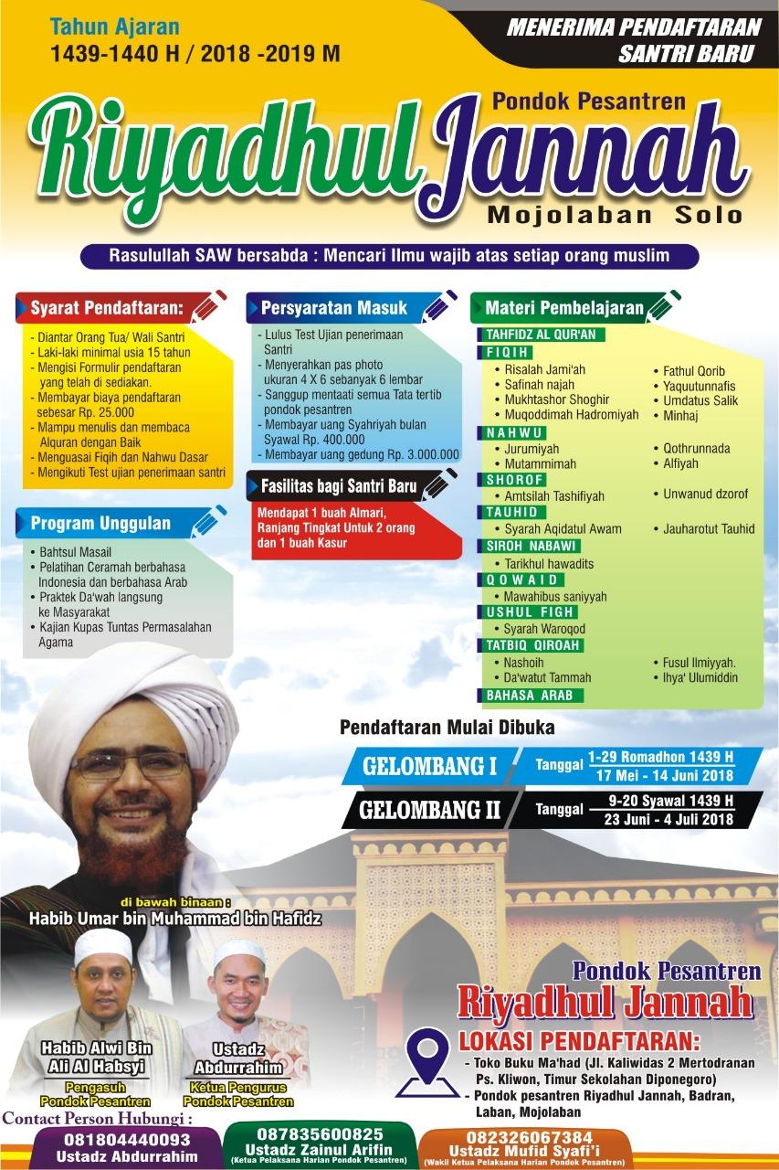 Pendaftaran Santri Baru Pondok Pesantren Riyadhul Jannah Surakarta